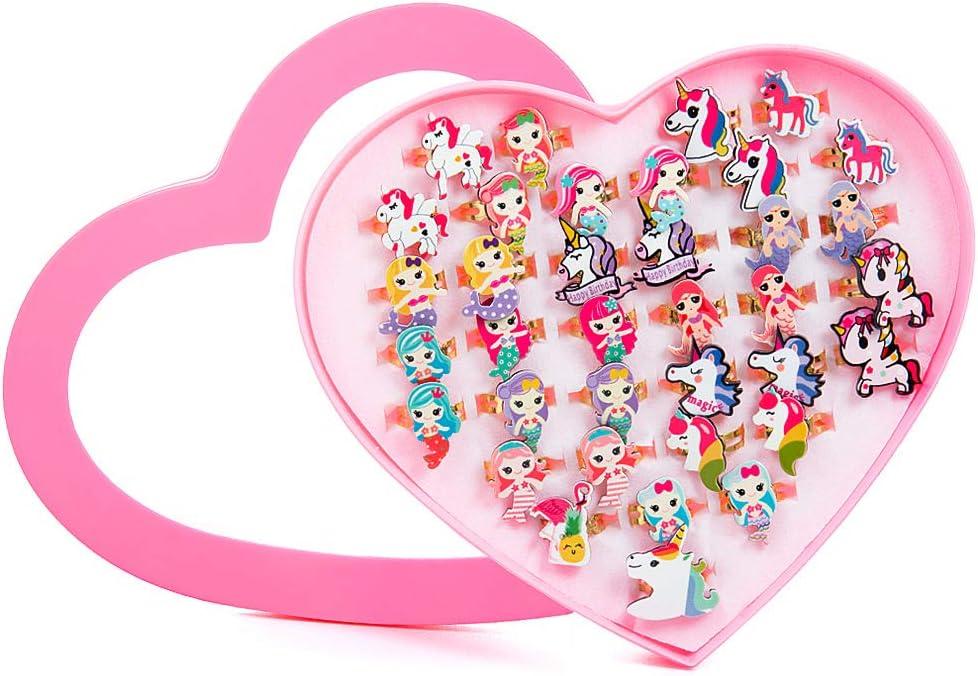 MOOKLIN ROAM 36 Piezas Anillos de Unicornio, Anillo Sirena Niños Joyería Ajustables con la Caja de presentación de la Forma del corazón para Niño Niñas Regalos Fiesta de Cumpleaños Favores Dress up