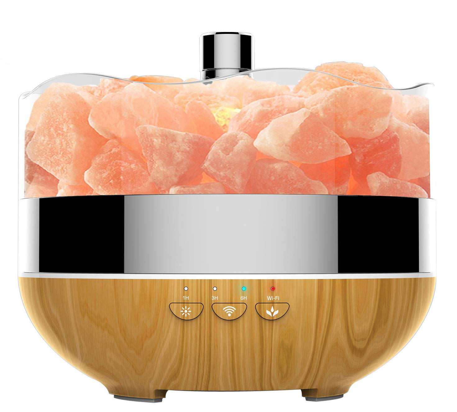 Smart WiFi Essential Oil Diffuser - 400ml Ultrasonic Aromatherapy Diffuser Oil Diffuser Cool Mist Humidifier Salt Lamp Works w/ Alexa Echo Google Home for Home Office Yoga (Salt Rocks Sold Separately)