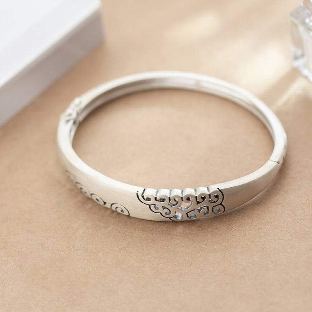 SLL Women's Western Mode S990 Voller Silber Armband Weibliche Mode Einfachen Muster Armband Temperament Persönlichkeit Öffnen Armband Weiblich, S990 Silberarmband