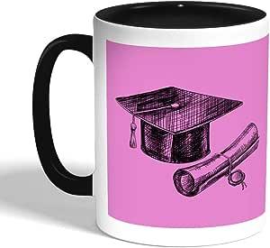 كوب سيراميك للقهوة بتصميم شعار يوم التخرج، اسود