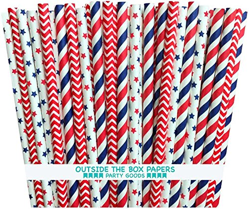 Outside the Box Papers Stars and Stripes Paper Straws 7.75 Inches 75 Pack Red, White, Blue