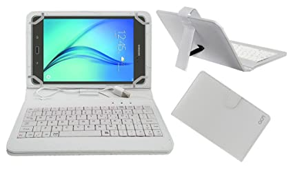 Acm USB Keyboard Case Compatible with Samsung Galaxy Tab A 8.0 quot; Tablet Cover Stand with Free Micro USB OTG   White Tablet Keyboards