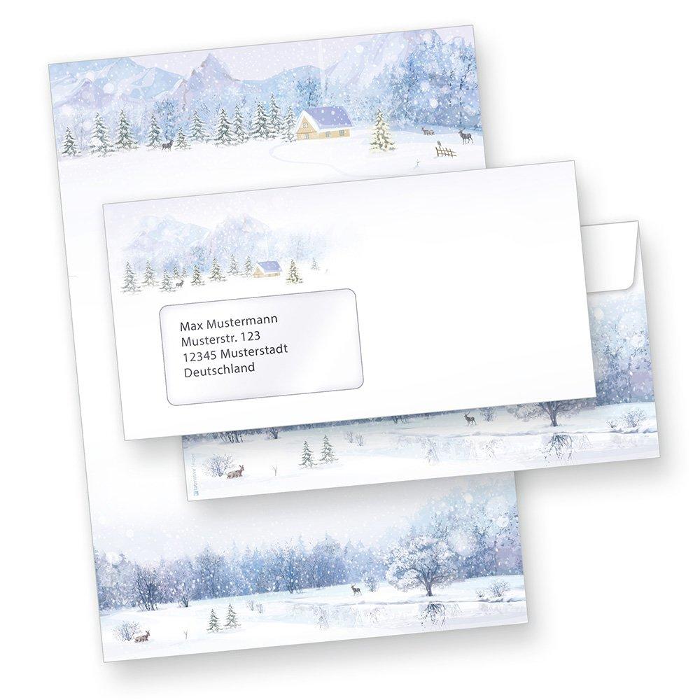TATMOTIVE Briefpapier Weiße Weihnacht (500 Sets  Fensterumschläge) DIN A4 297 x 210mm 90 g qm B016YH5D8G | Moderne und stilvolle Mode