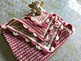 Raspberry Pink and Ecru Scalloped Edge Baby Blanket