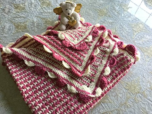 Raspberry Pink and Ecru Scalloped Edge Baby Blanket by The Gallery on Main