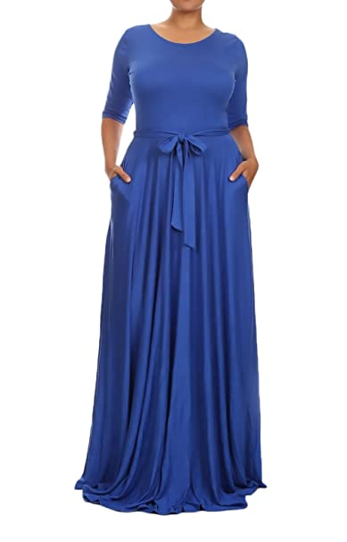 Vestidos Mujer Largos Tallas Grandes Elegante Primavera Otoño Manga Larga Niñas Ropa Cuello Redondo Maxi Vestido