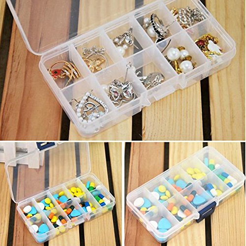 10 Slots Clear Jewelry Beads Storage Box Case Craft Organizer Plastic Container
