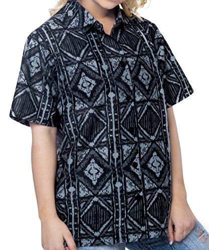 camisa de manga corta ropa de playa hawaiano de las mujeres bot�n superior campo de Aloha blusa abajo fiesta informal negro