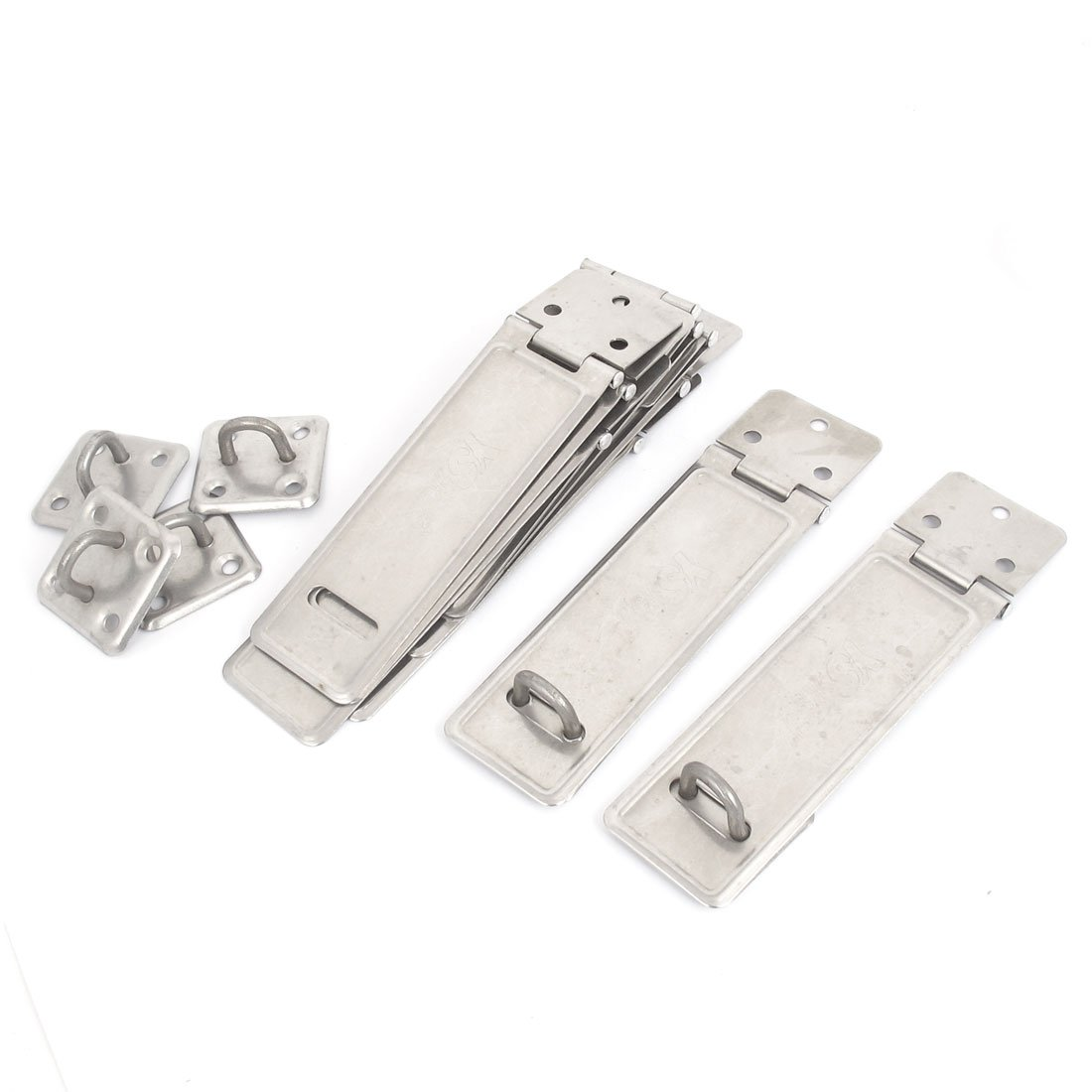 uxcell Cabinet Drawer Door 4'' Long Stainless Steel Hasp Staple Set 10pcs