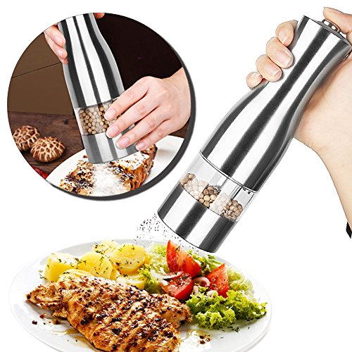 Electric Pepper Grinder, POWERFUL & DURABLE - Best Stainless Steel Salt and Pepper Mill - Battery Operated with LED Light