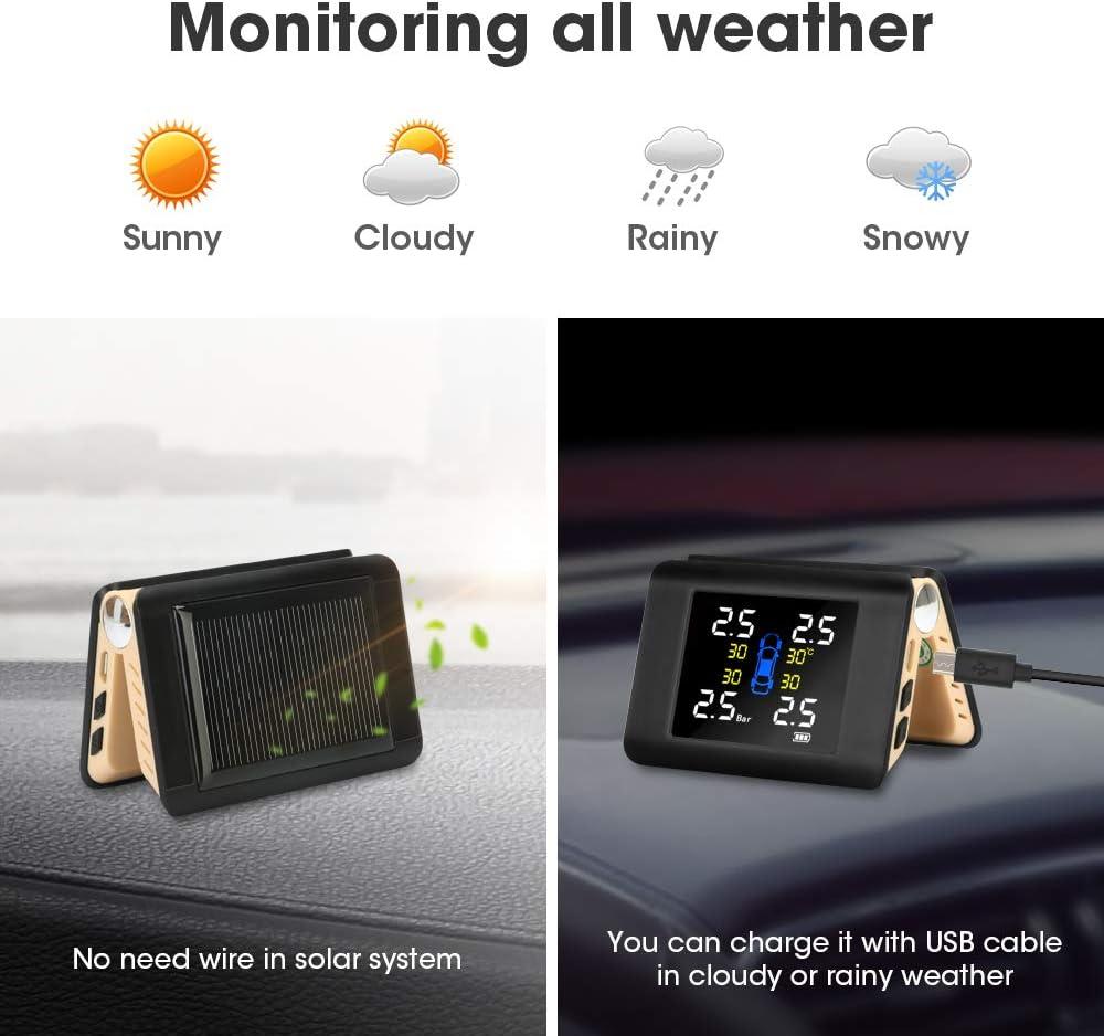 Jansite TPMS Solar Power Reifendruckkontrollsystem mit 4 externen Sensoren LCD-Echtzeitanzeige Auto Reifendruck Auto Alarm System Universal 22-87 Psi