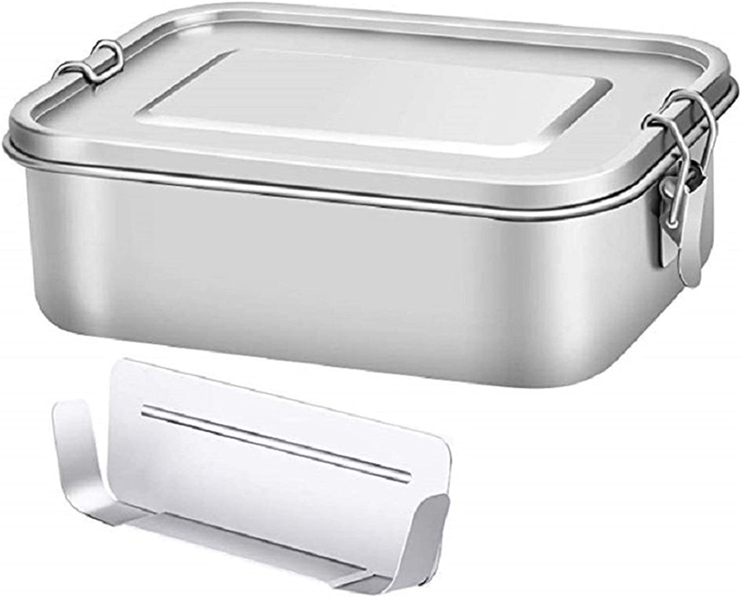 ZHTX 47oz Stainless Steel Food Container Leak Proof Bento Lunch Box For Commute With Lockable Clips Dishwasher Safe (Color : Silver)