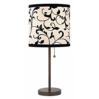 Bronze Pull Chain Table Lamp With Black White Filigree Drum Shade