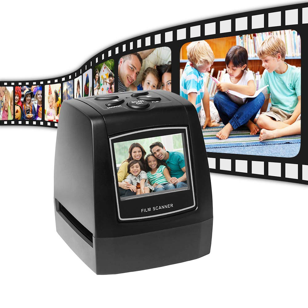 Black Docooler Film Scanner with Several Buttons On The Top Protable Negative 5mm 135mm Slide Film Converter Photo Digital Image Viewer with 2.4 LCD Build-in Editing Software