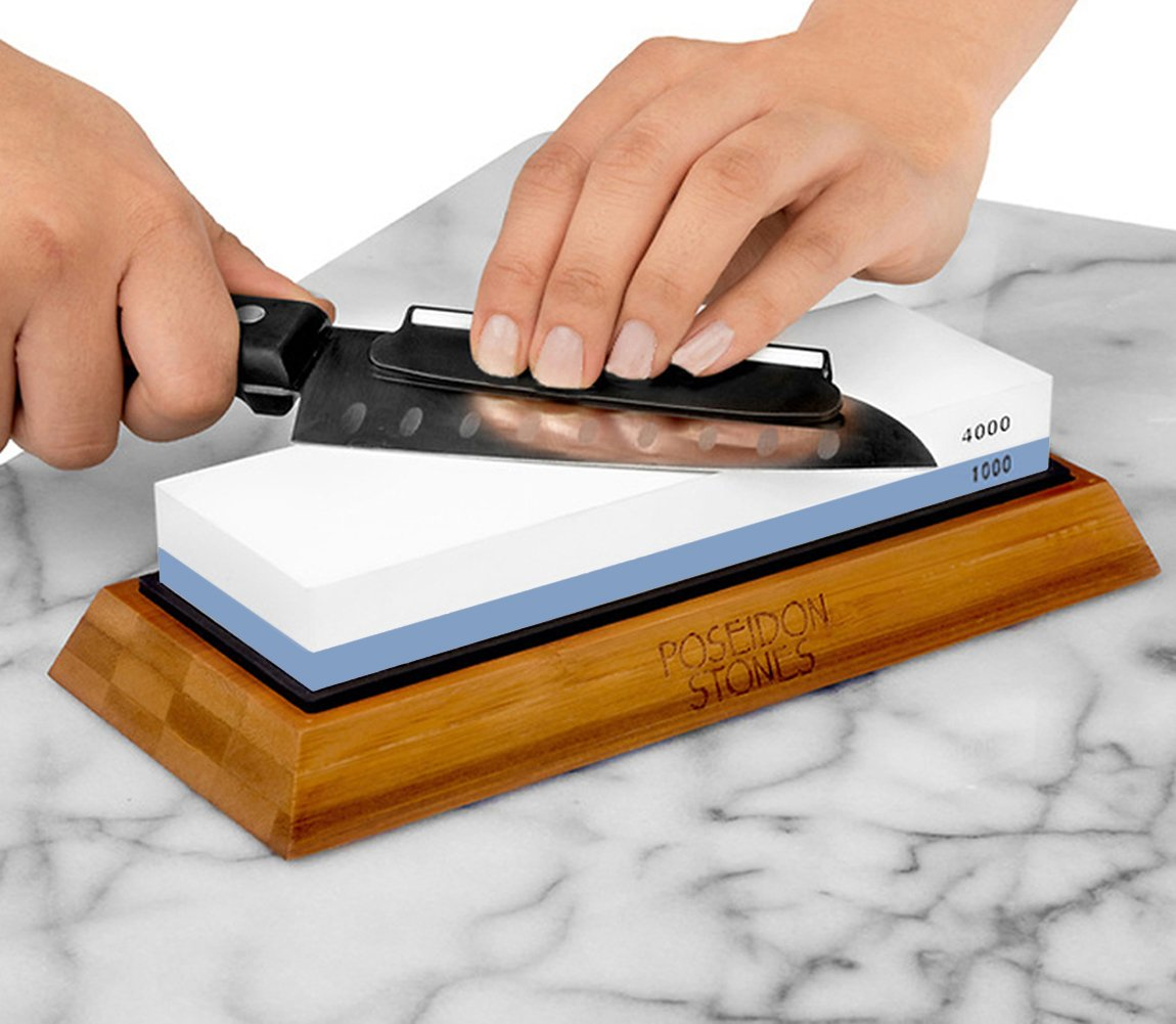 BearMoo Whetstone Premium 2-IN-1 Sharpening Stone 3000/8000 Grit Waterstone Kit