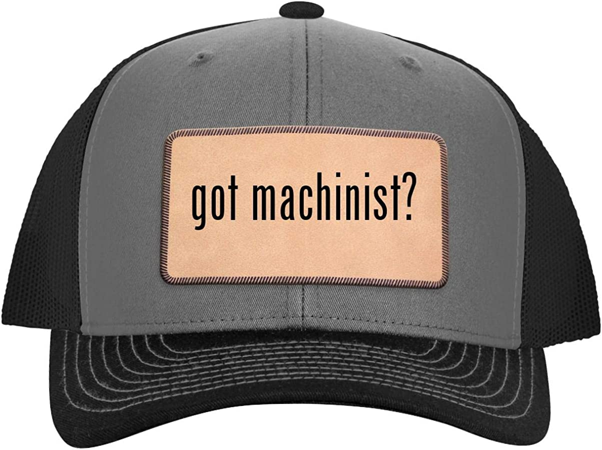 B07Z2XTZ4V One Legging it Around got Machinist - Leather Light Brown Patch Engraved Trucker Hat 61kCuUKPOPL
