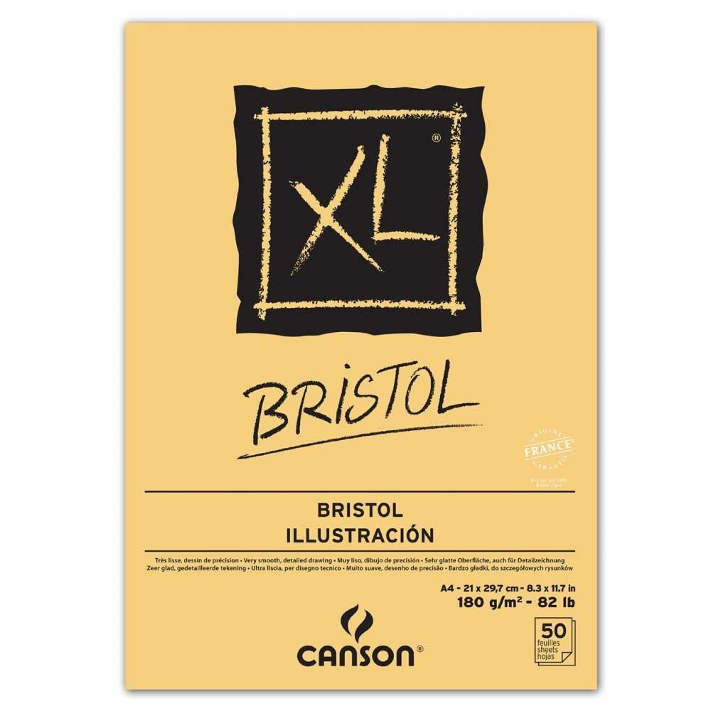 Canson Blocco da disegno e studio Block XL Bristol, Block DIN A4, 50fogli sopra geleimt, molto liscia, Extra Bianco, adatto per matita, inchiostro, aerografo, schizzi e disegni 40039172 - 400083144