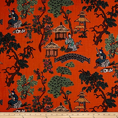 Lacefield Designs Global Market Empress Exclusive Tangerine Fabric by The Yard - Orange Toile Fabric
