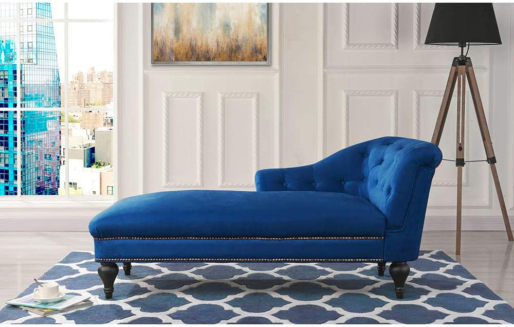 Chaise Lounge Indoor Chair Tufted Velvet Fabric, Modern Long Lounger for Office or Living Room (Navy)