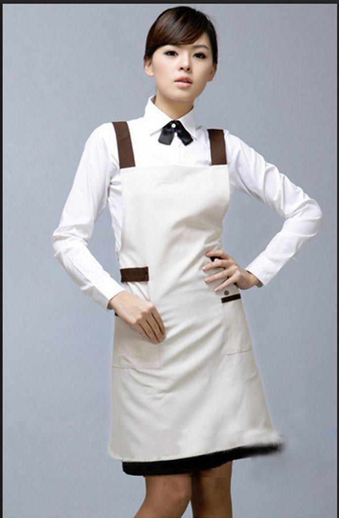 Fiean Unisex Double Pockets Leisure Couture Apron Neck Apron White Apron Cooking Apron Salon Apron Spa Aprons-White
