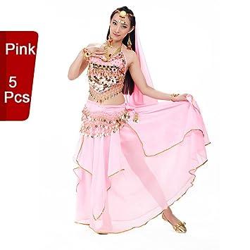 bf94b06add76 Traje profesional para danza del vientre / danza de la India de BellyQueen,  conjunto de 5 piezas, para mujer, rosa, talla única