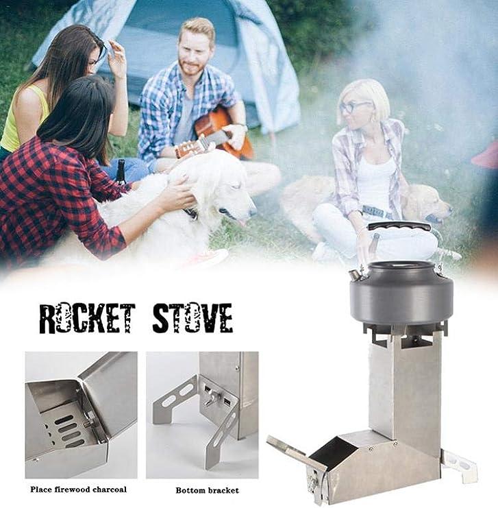 Rocket Stove con asa, portátil, de acero inoxidable, para acampada, supervivencia, autoalimentación, de madera, plegable, estufa para acampada, aire ...