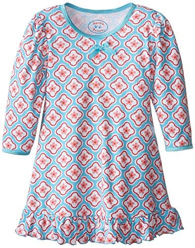 Saras Prints Girls Cupcakes - Sara's Prints Baby Girls' Puffed Sleeve Nightgown, Quatrefoil, 12 Months