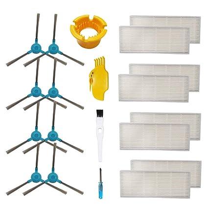 BSDY YQWRFEWYT Cepillo Principal de Repuesto, Cepillo Lateral, filtros Hepe para Cecotec Conga 1390 Cecotec Conga 1290 Aspirador Robot