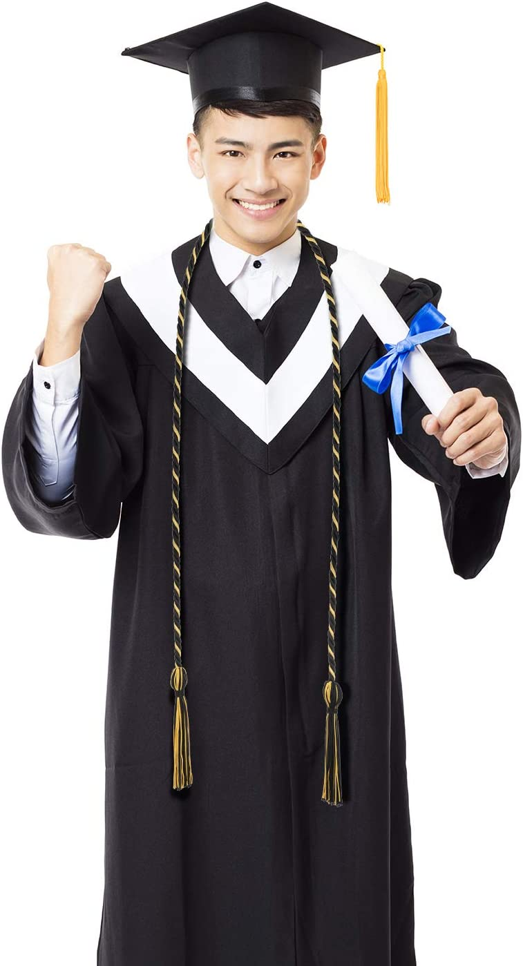Red with White Graduation Honor Cords Tassels Cord Polyester Yarn Honor Cord for Bachelor Gown for Graduation Students