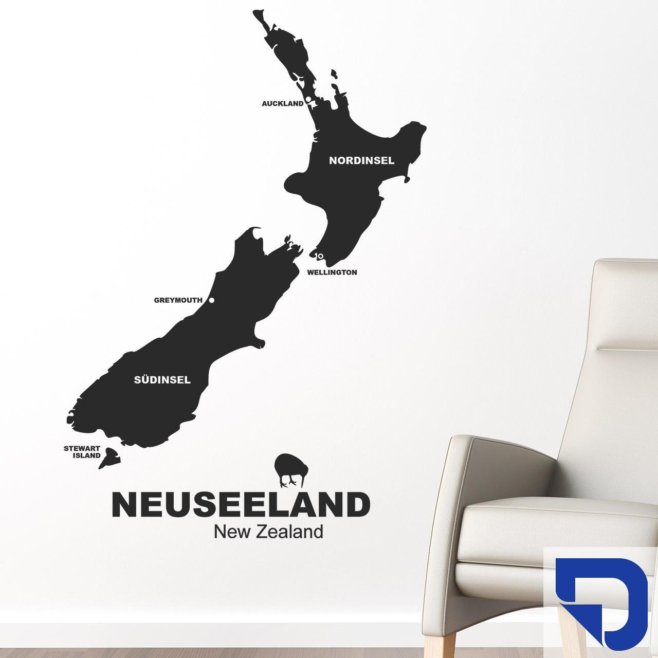 DESIGNSCAPE® Wandtattoo Neuseeland 110 x 160 cm (Breite x Höhe) enzian DW806015-L-F29