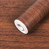SimpleLife4U Minimalist Brown Wood Grain Contact Paper Self Adhesive Shelf Liner Nightstand Door Sticker 17.7 Inch by 9.8 Feet