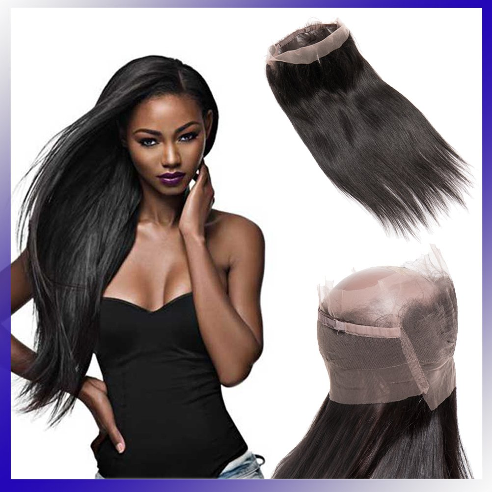 360 Lace Frontal Closure Straight 18inch Brazilian Virgin Human Hair Pre Plucked Free Part with Baby Hair Natural Hairline (Off Black #1B,130% Density)