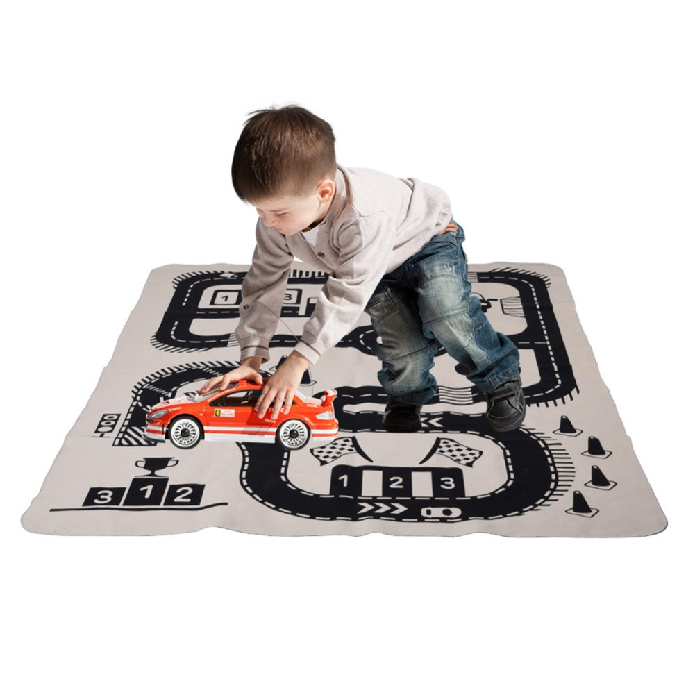 Children's Car Track Crawling Carpet Floor Game Play Mat Adventure Canvas Carpet for Kids Room Decor (Racing road-72X28.3) Sunshinetimes