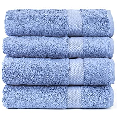 Luxury Hotel & Spa Towel 100% Genuine Turkish Cotton Bamboo (Wedgewood, Bath Towel  - Set of 4)