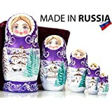 """Russian Nesting Doll - """"Winter`s Tale"""" - Hand Painted in Russia - Wooden Decoration Gift Doll - Traditional Matryoshka Babushka (6.75``(5 dolls in 1), Purple)"""