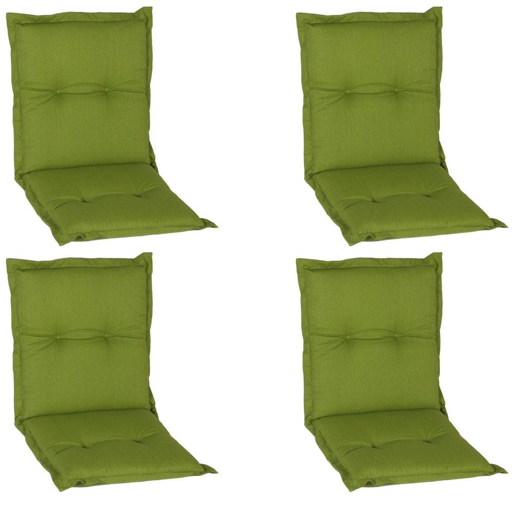 4er Pack beo Niedriglehner AU31 Nice NL Luxus-Saumauflageangenehmer Sitzkomfort Niederlehner, circa 100 x 52 cm, 7 cm Dick, grün