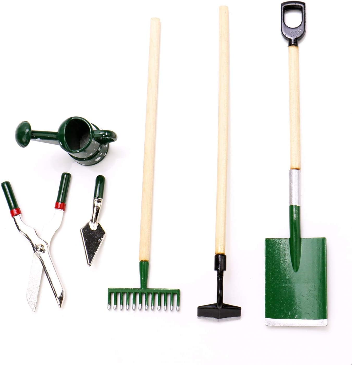 JETEHO Set of 6 Miniature Dollhouse Working Accessories for Doll House or Garden Scenery Model(3 x Garden Tools +1x Scissors, 1x Shovel, 1xWatering Can)