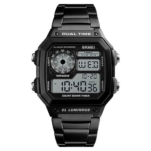 Hombre Impermeable Relojes con Disco Cuadrado, Digitales Reloj de Cuarzo con Función Múltiple Zona Horaria Dual Alarma Cuenta Regresiva Cronógrafo ...