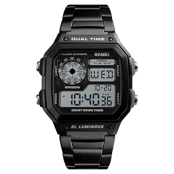 Relojes Pulsera Rectangular Multifuncional Calendario LED Alarma Digital Relojes Hombre Acero Inoxidable