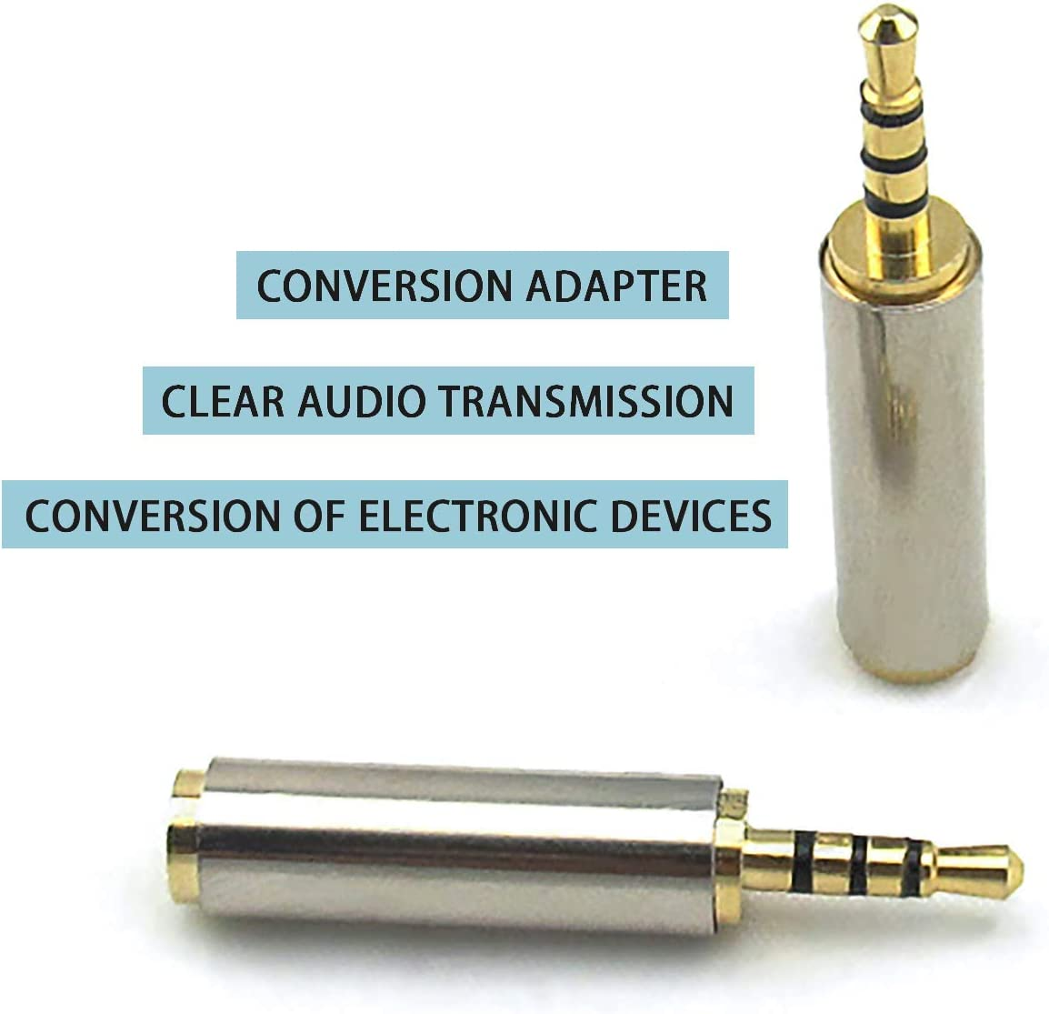 Adapter Silver Gray 2.5mm Male to 3.5mm Female 3 Ring 4-Pole Jack Audio Adapter Converter for Headphone Earphone Headset