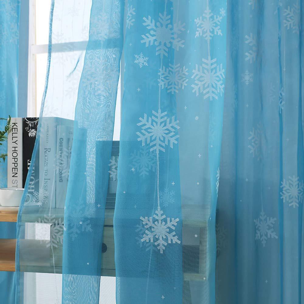 lotus.flower Christmas Snowflake Curtain 80cm x 200cm, Black Xmas Inspired Winter Season Theme Curtain Tulle Window Treatment Voile Drape Valance for Living Room Bedroom