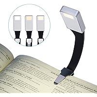 Luce Lettura, LANDEE Lampada da Libro, USB Ricaricabile Night Light Eye Care, 3 Modalità di Luminosità Clip Sul Libro, Flessibile a 360 °, Portatile LED Nel letto di illuminazione (Argento)