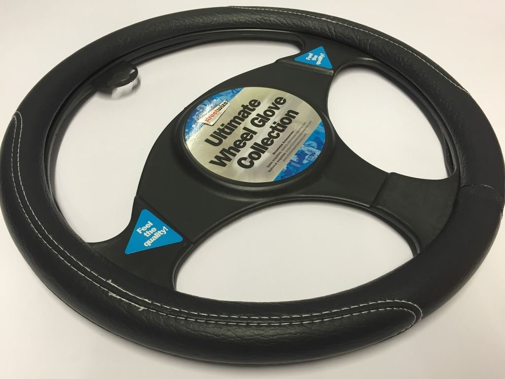 Fiat Grande Punto Black /& White Stitching Steering Wheel Cover Glove 37cm