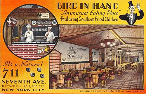 New York City Bird In Hand Southern Fried Chicken Antique Postcard J20922