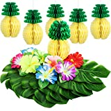 TOODOO 42 Pieces Hawaiian Tropical Party Decoration, 18 Pieces Tropical Faux Palm Leaves, 18 Pieces Artificial Hibiscus Flowers with 6 Pieces Tissue Pineapples