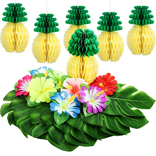 TOODOO 42 Pieces Hawaiian Tropical Party Decoration, 18 Pieces Tropical Faux Palm Leaves, 18 Pieces Artificial Hibiscus Flowers with 6 Pieces Tissue Pineapples]()