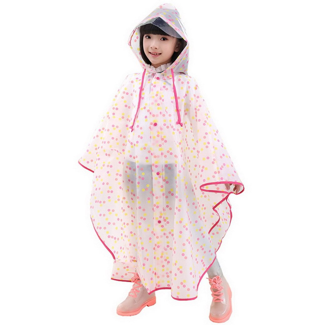 Evedaily Poncho impermeabile di pioggia incappucciati per bambini, Poncho antipioggia per bambini con cappuccio