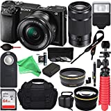 Sony Alpha a6000 24.3MP Camera 16-50mm & 55-210mm Zoom Lens (Black) + 64GB + Gadget Bag + Extra Battery + Wide Angle Lens + 2x Telephoto Lens + Flash + Remote + Tripod + DigitalAndMore Bundle