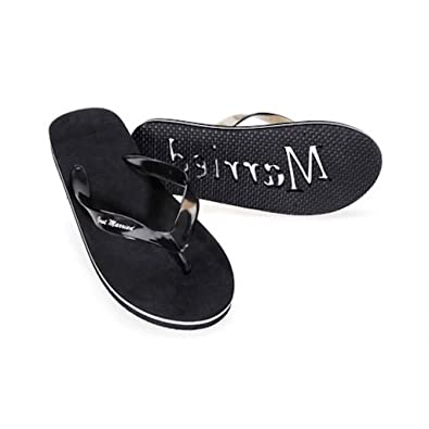 c6c8c31bd3e539 Image Unavailable. Image not available for. Color  Victoria Lynn Size 13  Mens Just Married Mens Flip Flops Honeymoon Black White