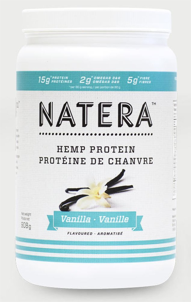 No1 Hemp Protein Powder (2 lbs) Vanilla, NATERA Vegan Friendly Supplement for Pre and After Workout, Fast Muscle Recovery | Made in Canada All Plant Based